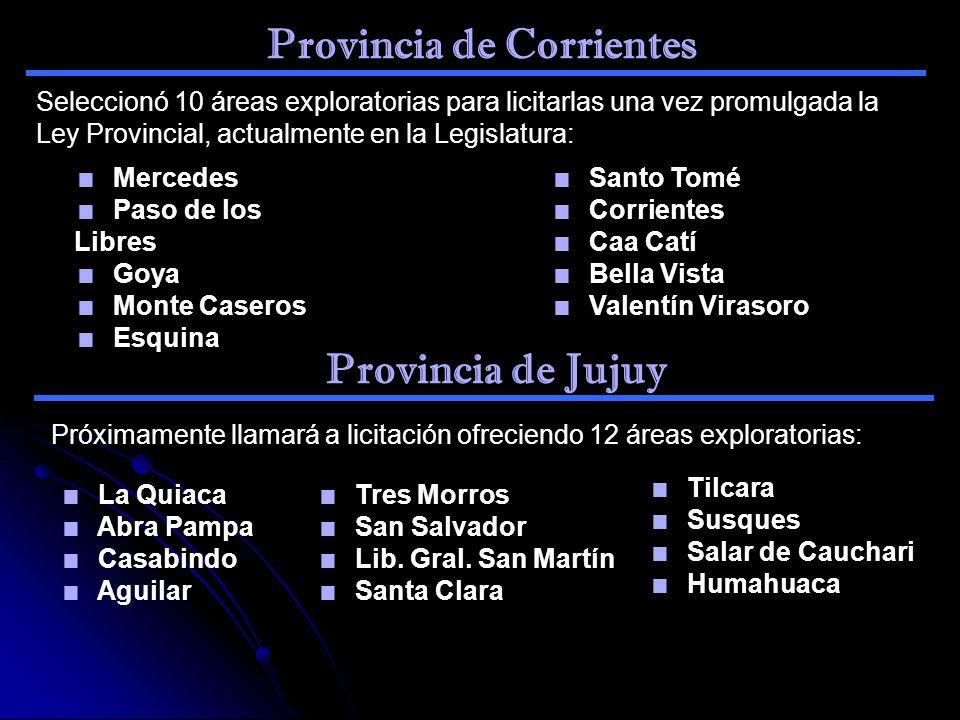 Provincia de Corrientes Seleccionó 10 áreas exploratorias para licitarlas una vez promulgada la Ley Provincial, actualmente en la Legislatura: Mercede