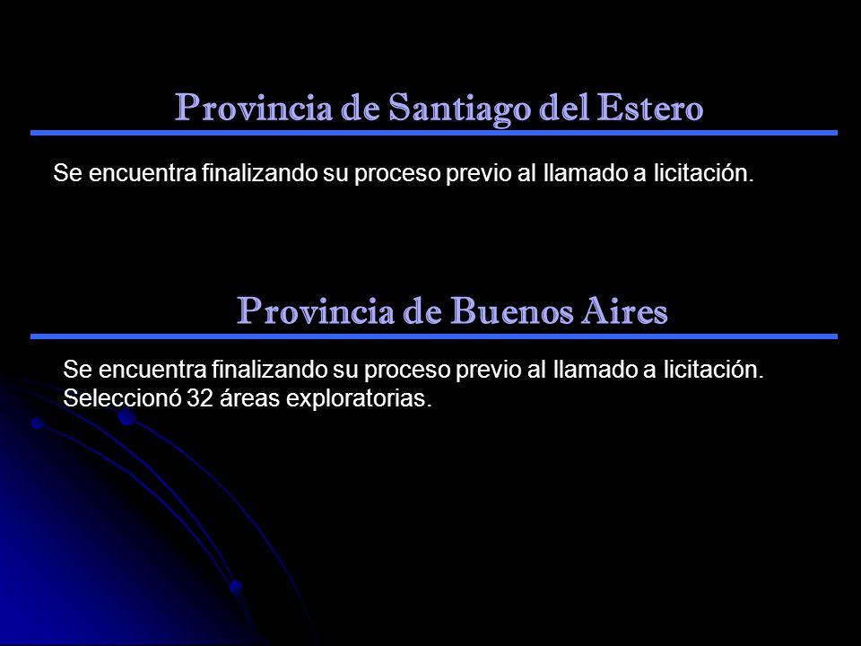 Provincia de Santiago del Estero Se encuentra finalizando su proceso previo al llamado a licitación. Provincia de Buenos Aires Se encuentra finalizand