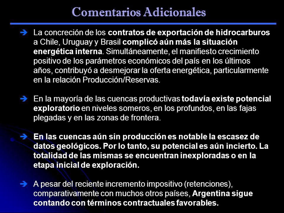 Comentarios Adicionales La concreción de los contratos de exportación de hidrocarburos a Chile, Uruguay y Brasil complicó aún más la situación energét