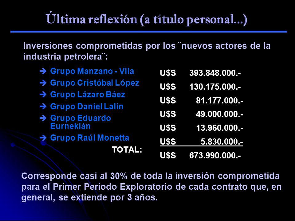 Última reflexión (a título personal...) Inversiones comprometidas por los ¨nuevos actores de la industria petrolera¨: Grupo Manzano - Vila Grupo Crist