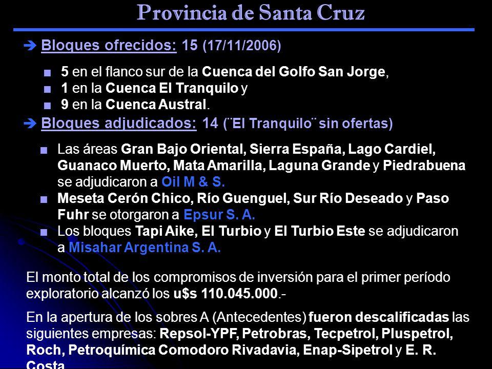 Provincia de Santa Cruz Bloques ofrecidos: 15 (17/11/2006) 5 en el flanco sur de la Cuenca del Golfo San Jorge, 1 en la Cuenca El Tranquilo y 9 en la
