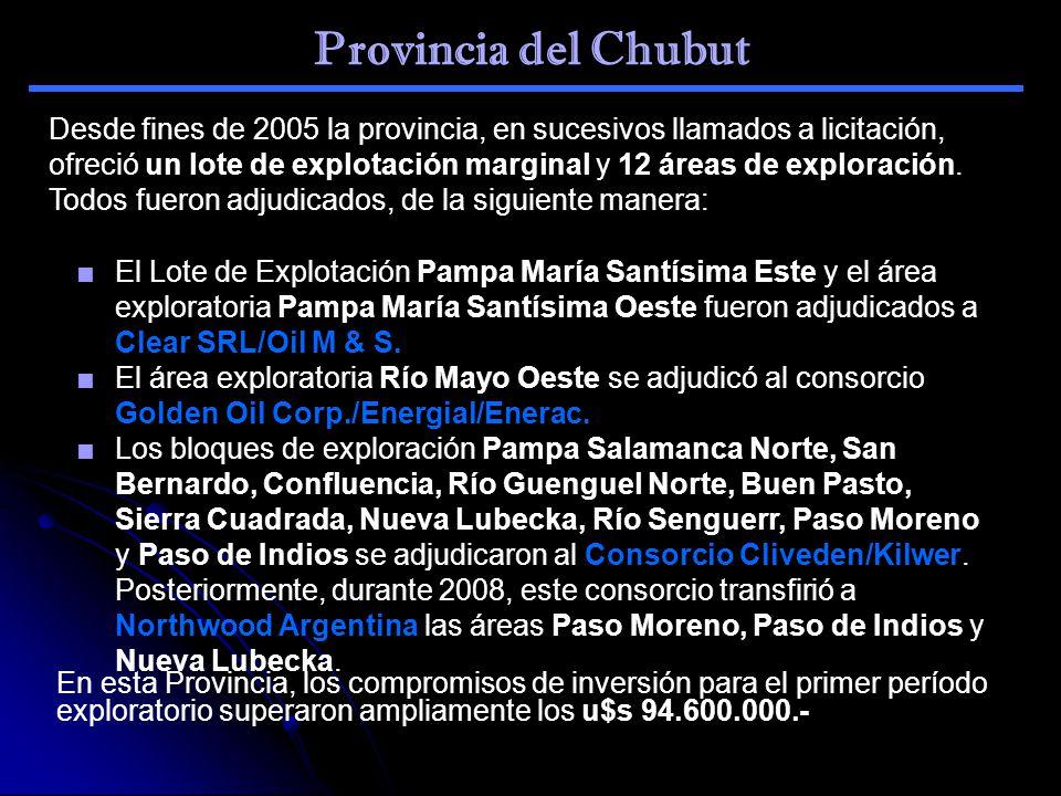 Provincia del Chubut El Lote de Explotación Pampa María Santísima Este y el área exploratoria Pampa María Santísima Oeste fueron adjudicados a Clear S