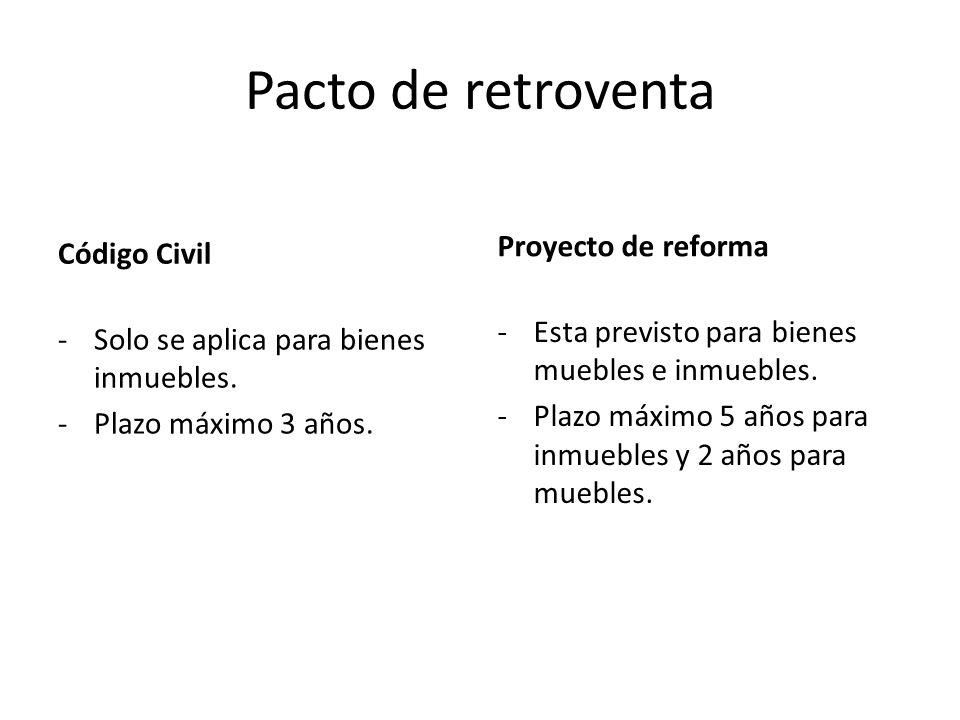 Pacto de retroventa Código Civil -Solo se aplica para bienes inmuebles. -Plazo máximo 3 años. Proyecto de reforma -Esta previsto para bienes muebles e