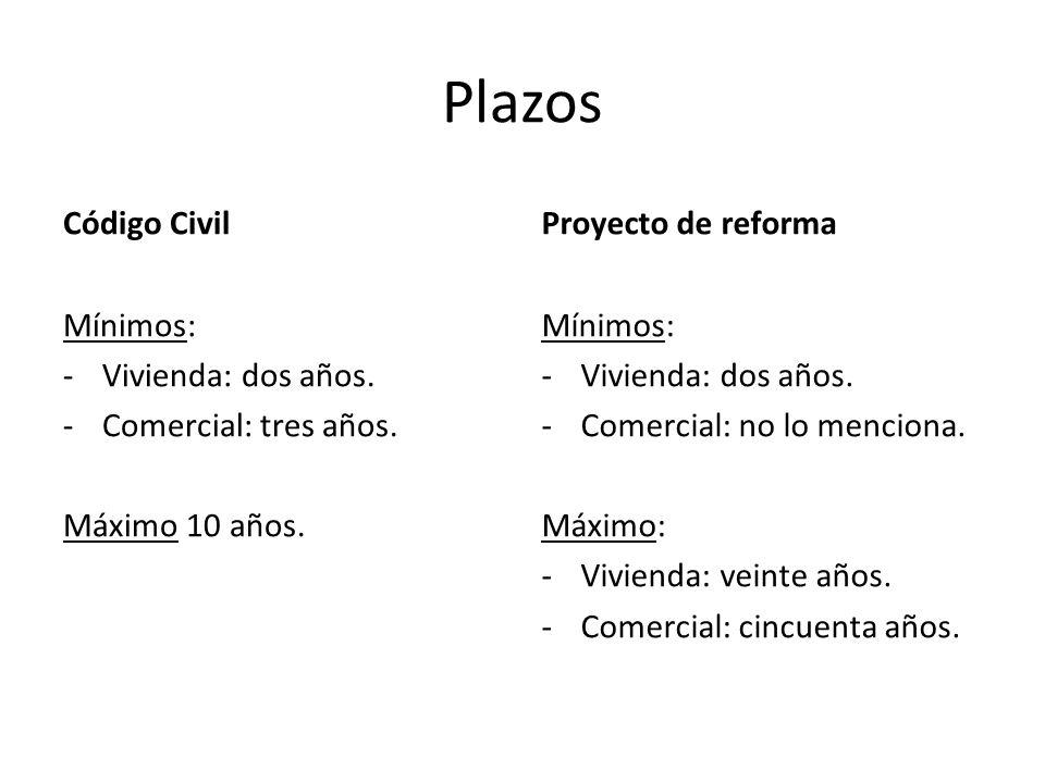 Plazos Código Civil Mínimos: -Vivienda: dos años. -Comercial: tres años. Máximo 10 años. Proyecto de reforma Mínimos: -Vivienda: dos años. -Comercial: