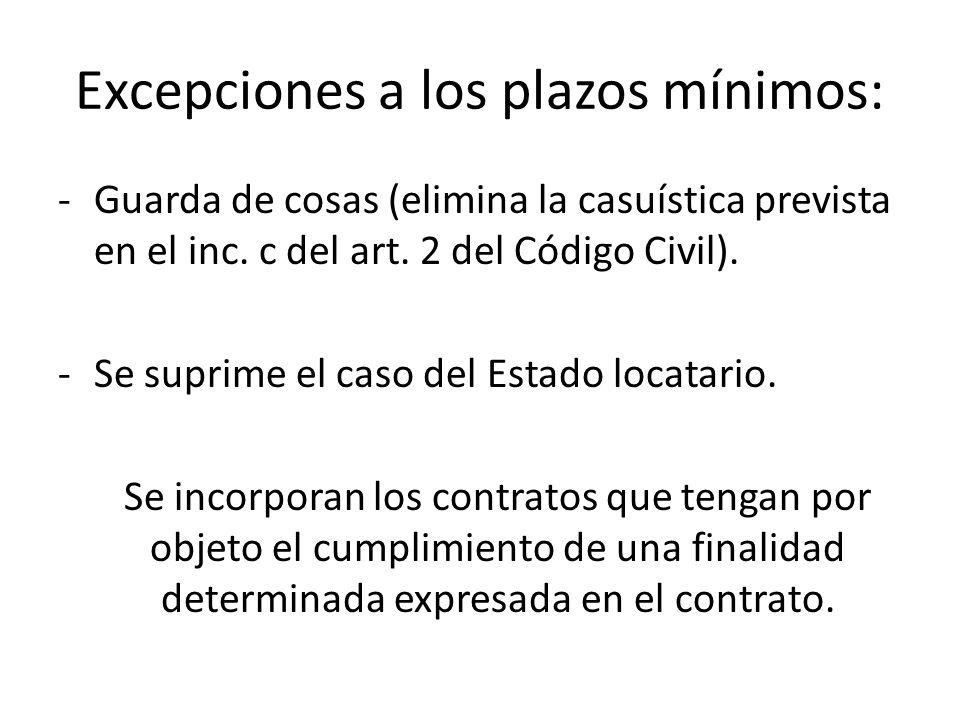 Excepciones a los plazos mínimos: -Guarda de cosas (elimina la casuística prevista en el inc. c del art. 2 del Código Civil). -Se suprime el caso del