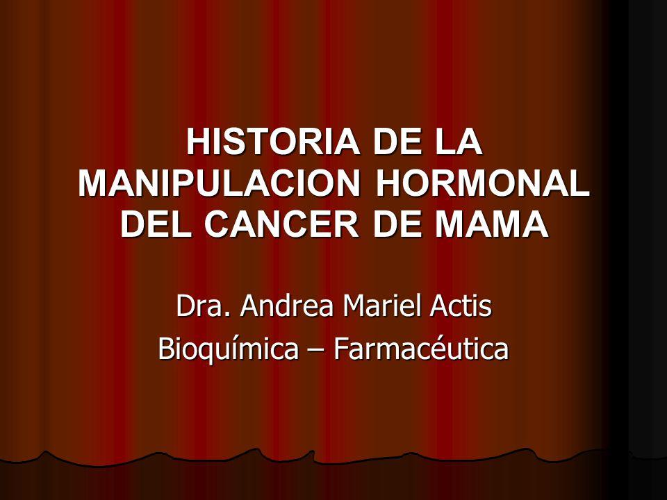 HISTORIA DE LA MANIPULACION HORMONAL DEL CANCER DE MAMA Dra.