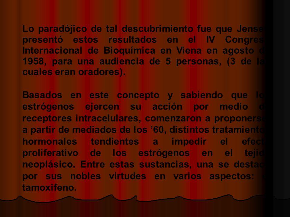 Lo paradójico de tal descubrimiento fue que Jensen presentó estos resultados en el IV Congreso Internacional de Bioquímica en Viena en agosto de 1958, para una audiencia de 5 personas, (3 de las cuales eran oradores).
