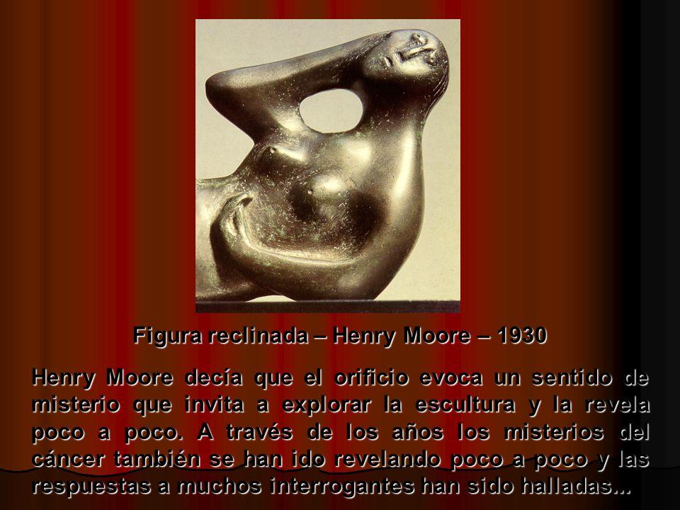 Figura reclinada – Henry Moore – 1930 Henry Moore decía que el orificio evoca un sentido de misterio que invita a explorar la escultura y la revela poco a poco.
