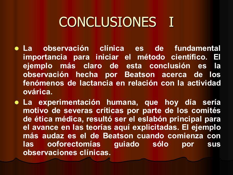 CONCLUSIONES I La observación clínica es de fundamental importancia para iniciar el método científico.