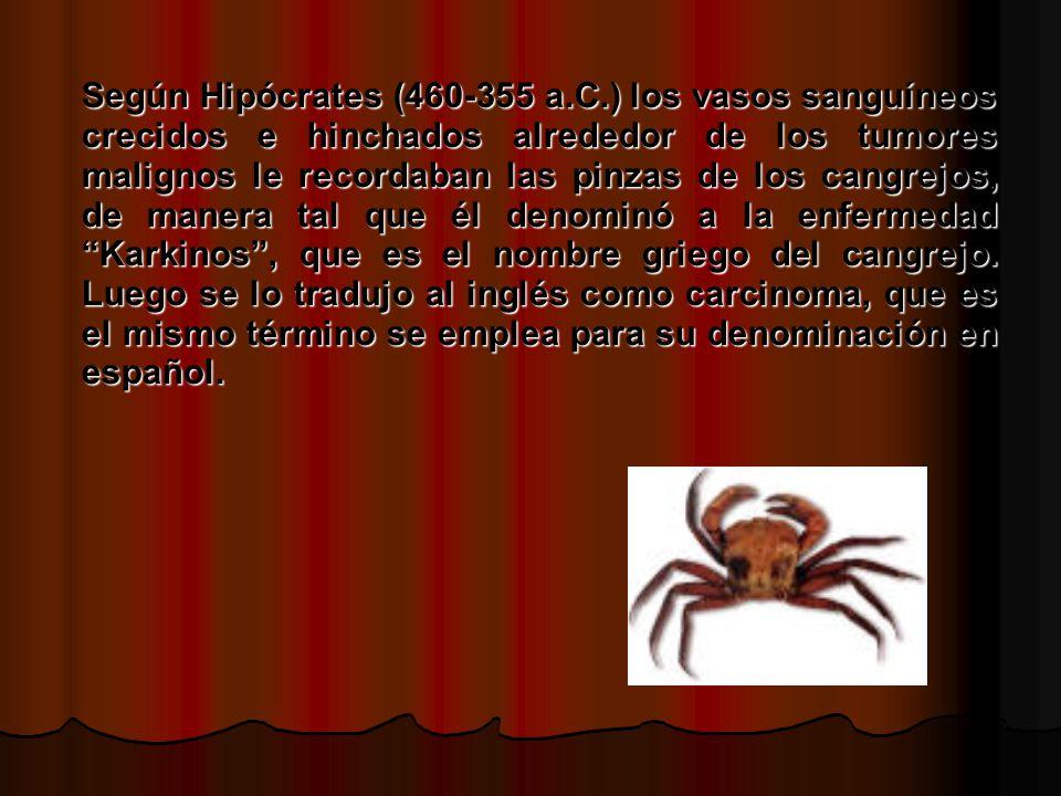 Según Hipócrates (460-355 a.C.) los vasos sanguíneos crecidos e hinchados alrededor de los tumores malignos le recordaban las pinzas de los cangrejos, de manera tal que él denominó a la enfermedad Karkinos, que es el nombre griego del cangrejo.