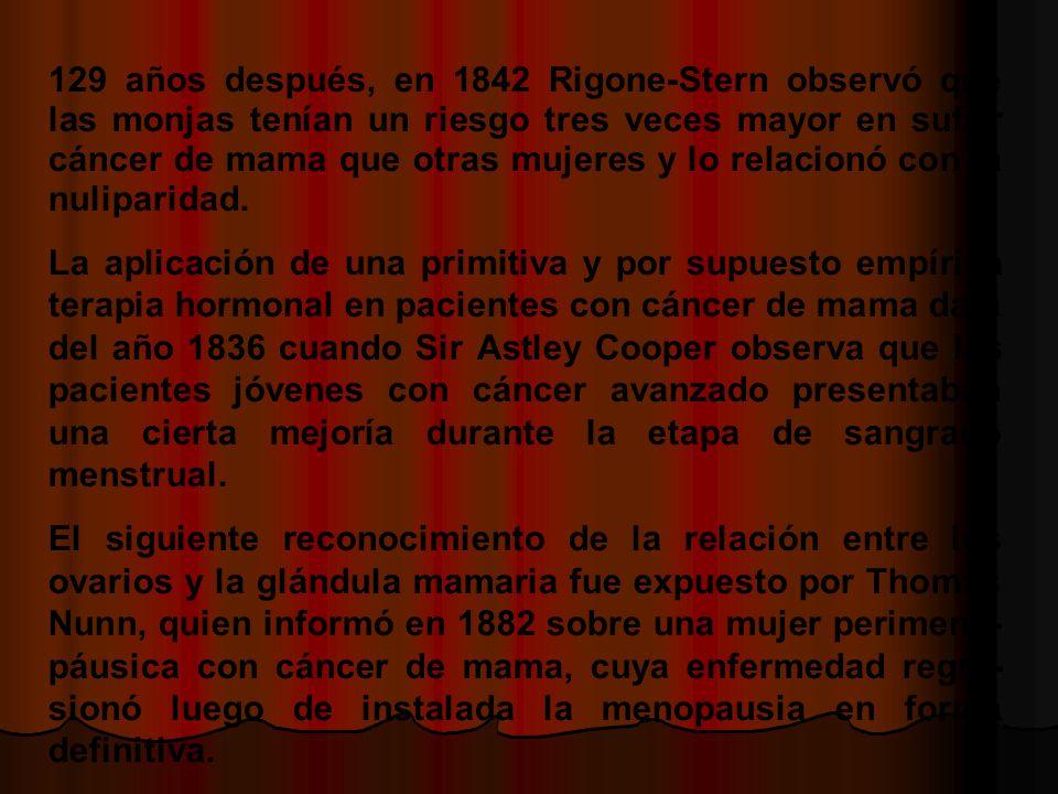 129 años después, en 1842 Rigone-Stern observó que las monjas tenían un riesgo tres veces mayor en sufrir cáncer de mama que otras mujeres y lo relacionó con la nuliparidad.