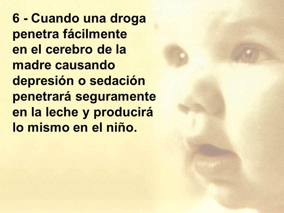 6 - Cuando una droga penetra fácilmente en el cerebro de la madre causando depresión o sedación penetrará seguramente en la leche y producirá lo mismo en el niño.