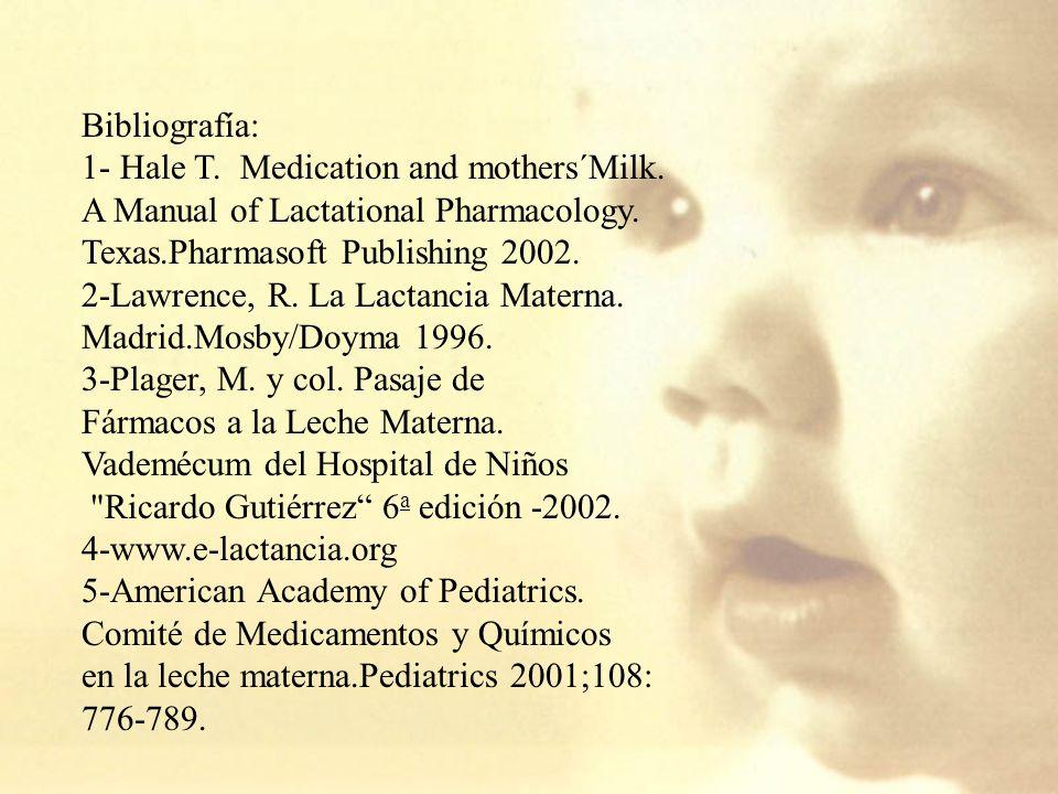 Bibliografía: 1- Hale T.Medication and mothers´Milk.