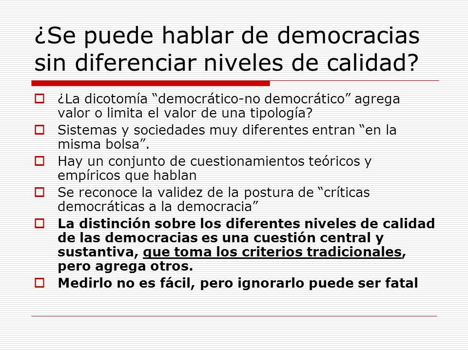 ¿Se puede hablar de democracias sin diferenciar niveles de calidad? ¿La dicotomía democrático-no democrático agrega valor o limita el valor de una tip