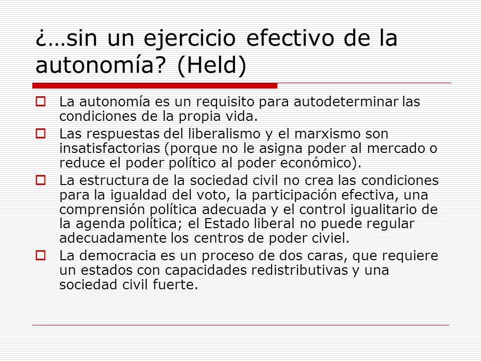 ¿…sin un ejercicio efectivo de la autonomía? (Held) La autonomía es un requisito para autodeterminar las condiciones de la propia vida. Las respuestas