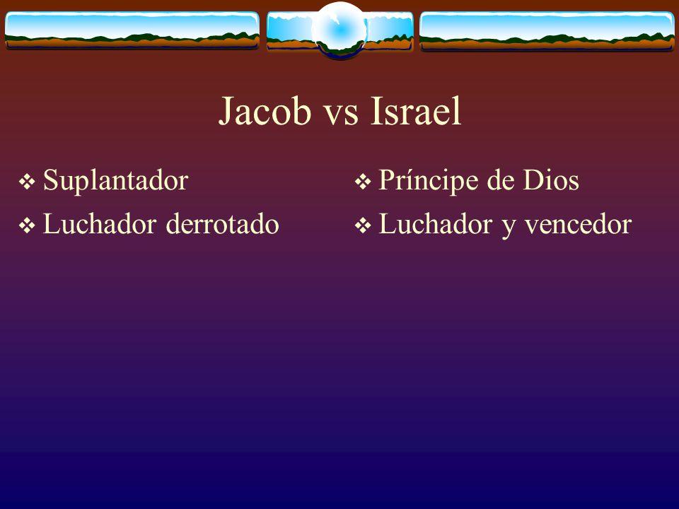 Y Jacob le dijo: No te soltará, si no me bendices. Y el varón le dijo: No se dirá más tu nombre Jacob sino Israel. Génesis 32.26, 28.