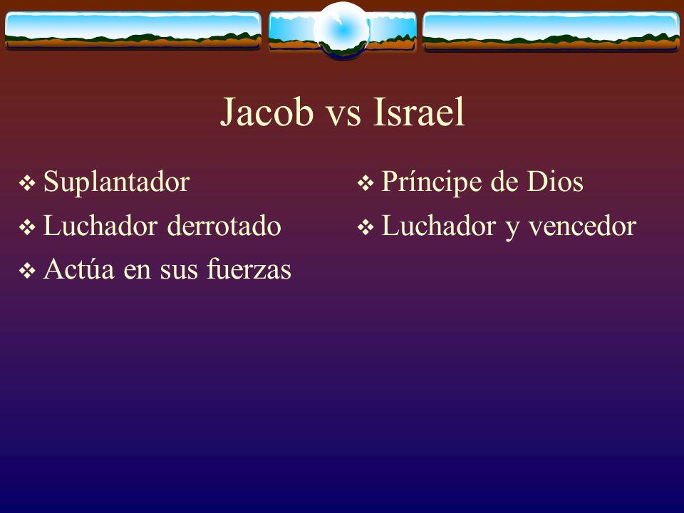 Jacob vs Israel Suplantador Luchador derrotado Príncipe de Dios Luchador y vencedor