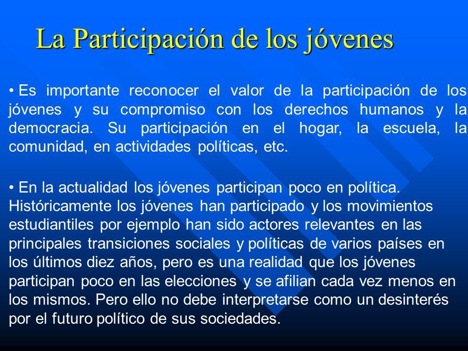 La Participación de los jóvenes Es importante reconocer el valor de la participación de los jóvenes y su compromiso con los derechos humanos y la demo