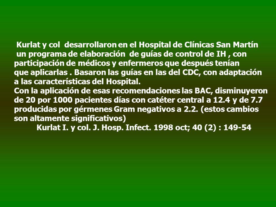 Kurlat y col desarrollaron en el Hospital de Clínicas San Martín un programa de elaboración de guías de control de IH, con participación de médicos y