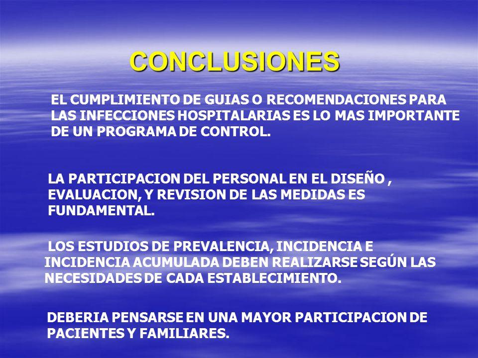 CONCLUSIONES LA PARTICIPACION DEL PERSONAL EN EL DISEÑO, EVALUACION, Y REVISION DE LAS MEDIDAS ES FUNDAMENTAL. LOS ESTUDIOS DE PREVALENCIA, INCIDENCIA