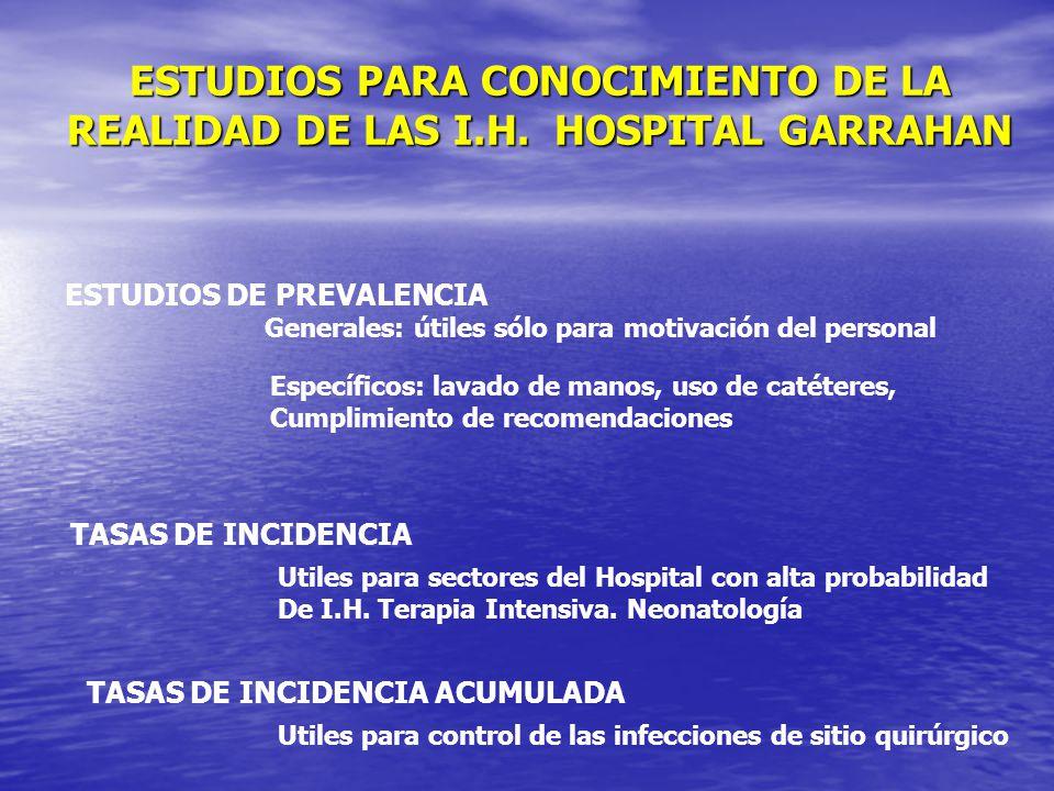 ESTUDIOS PARA CONOCIMIENTO DE LA REALIDAD DE LAS I.H. HOSPITAL GARRAHAN ESTUDIOS DE PREVALENCIA Generales: útiles sólo para motivación del personal Es