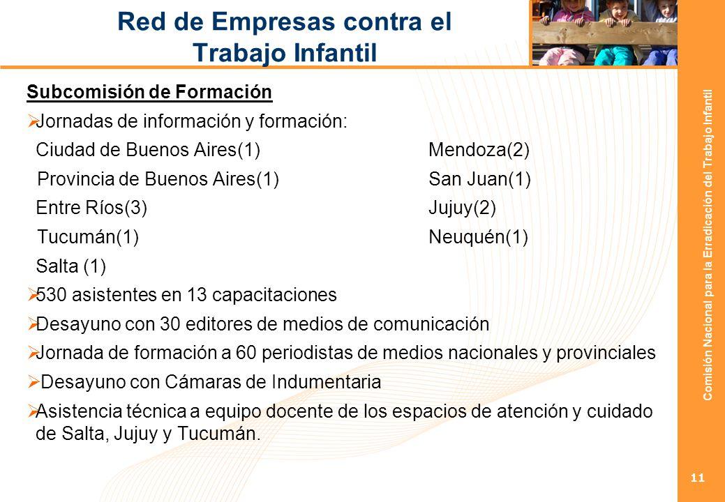 Comisión Nacional para la Erradicación del Trabajo Infantil 11 Red de Empresas contra el Trabajo Infantil Subcomisión de Formación Jornadas de información y formación: Ciudad de Buenos Aires(1) Mendoza(2) Provincia de Buenos Aires(1) San Juan(1) Entre Ríos(3) Jujuy(2) Tucumán(1)Neuquén(1) Salta (1) 530 asistentes en 13 capacitaciones Desayuno con 30 editores de medios de comunicación Jornada de formación a 60 periodistas de medios nacionales y provinciales Desayuno con Cámaras de Indumentaria Asistencia técnica a equipo docente de los espacios de atención y cuidado de Salta, Jujuy y Tucumán.