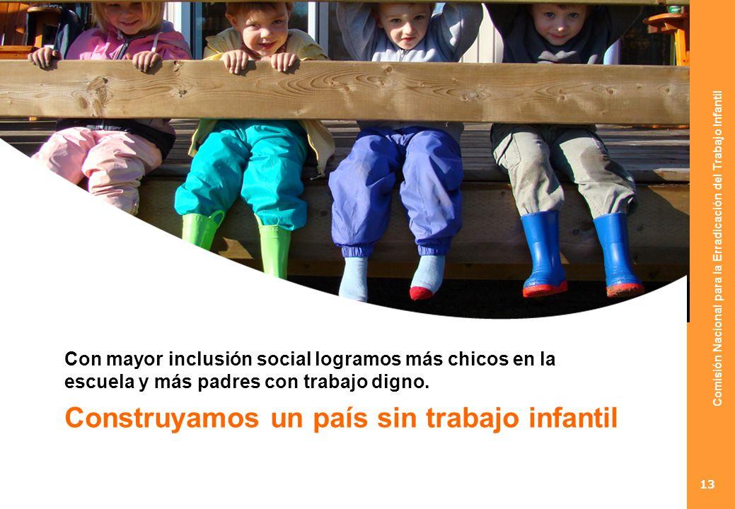 Comisión Nacional para la Erradicación del Trabajo Infantil 13 Con mayor inclusión social logramos más chicos en la escuela y más padres con trabajo digno.