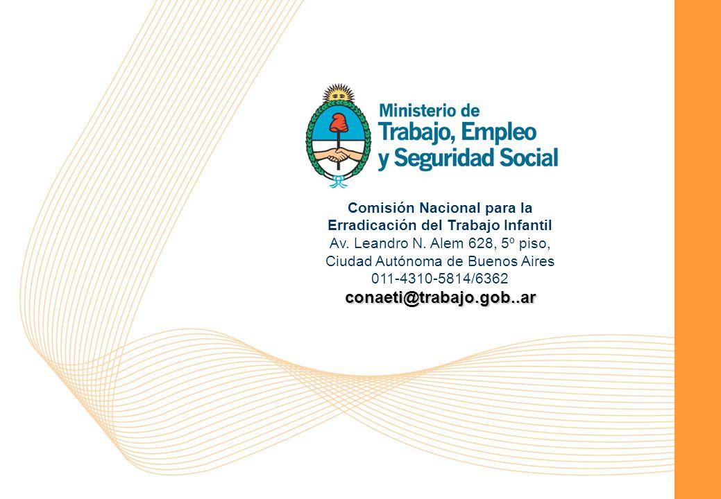 Comisión Nacional para la Erradicación del Trabajo Infantil 14 Comisión Nacional para la Erradicación del Trabajo Infantil Av.