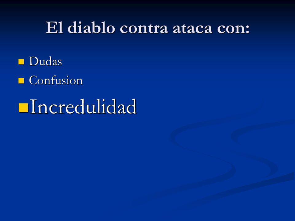 El diablo contra ataca con: Dudas Dudas Confusion Confusion Incredulidad Incredulidad