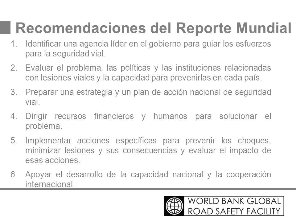 Recomendaciones del Reporte Mundial 1.Identificar una agencia líder en el gobierno para guiar los esfuerzos para la seguridad vial. 2.Evaluar el probl