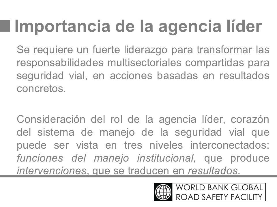 Importancia de la agencia líder Se requiere un fuerte liderazgo para transformar las responsabilidades multisectoriales compartidas para seguridad via