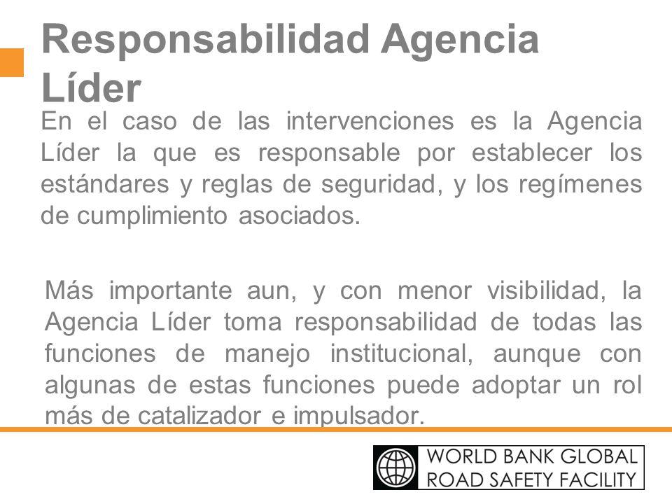 Responsabilidad Agencia Líder En el caso de las intervenciones es la Agencia Líder la que es responsable por establecer los estándares y reglas de seg