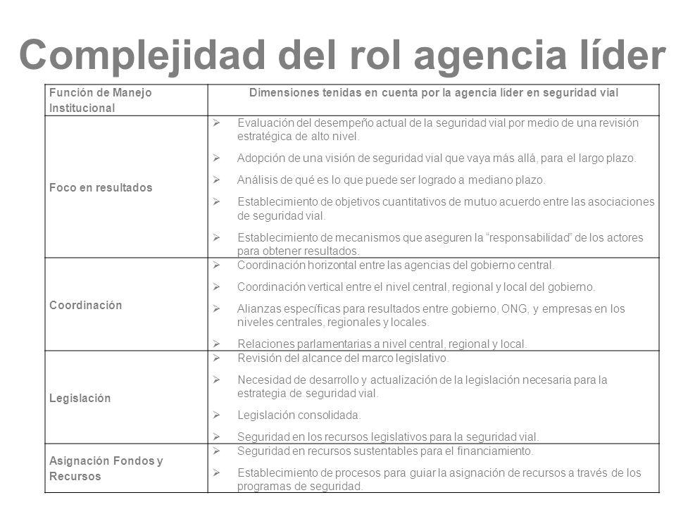 Complejidad del rol agencia líder Función de Manejo Institucional Dimensiones tenidas en cuenta por la agencia líder en seguridad vial Foco en resulta