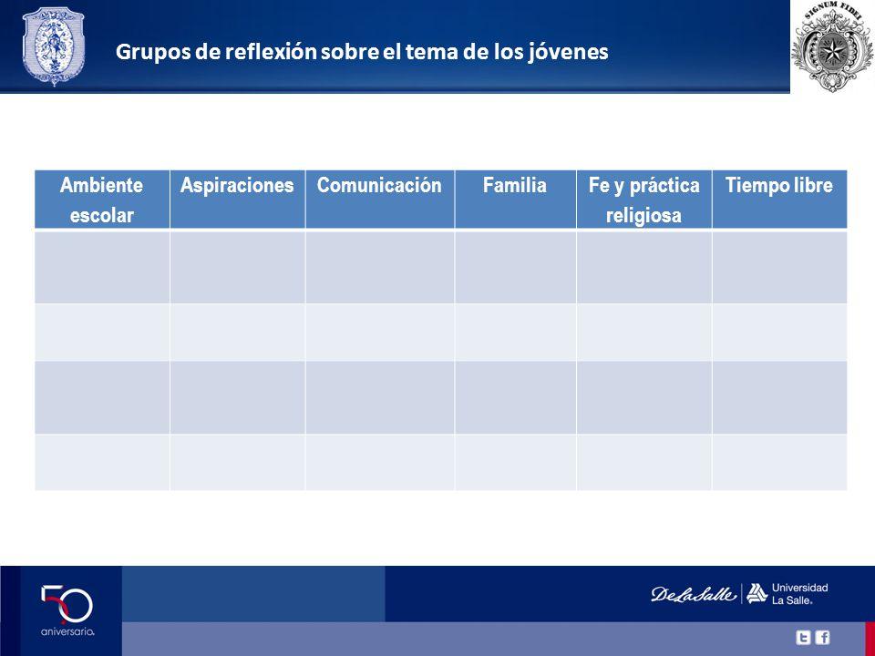 Ambiente escolar AspiracionesComunicaciónFamilia Fe y práctica religiosa Tiempo libre Grupos de reflexión sobre el tema de los jóvenes