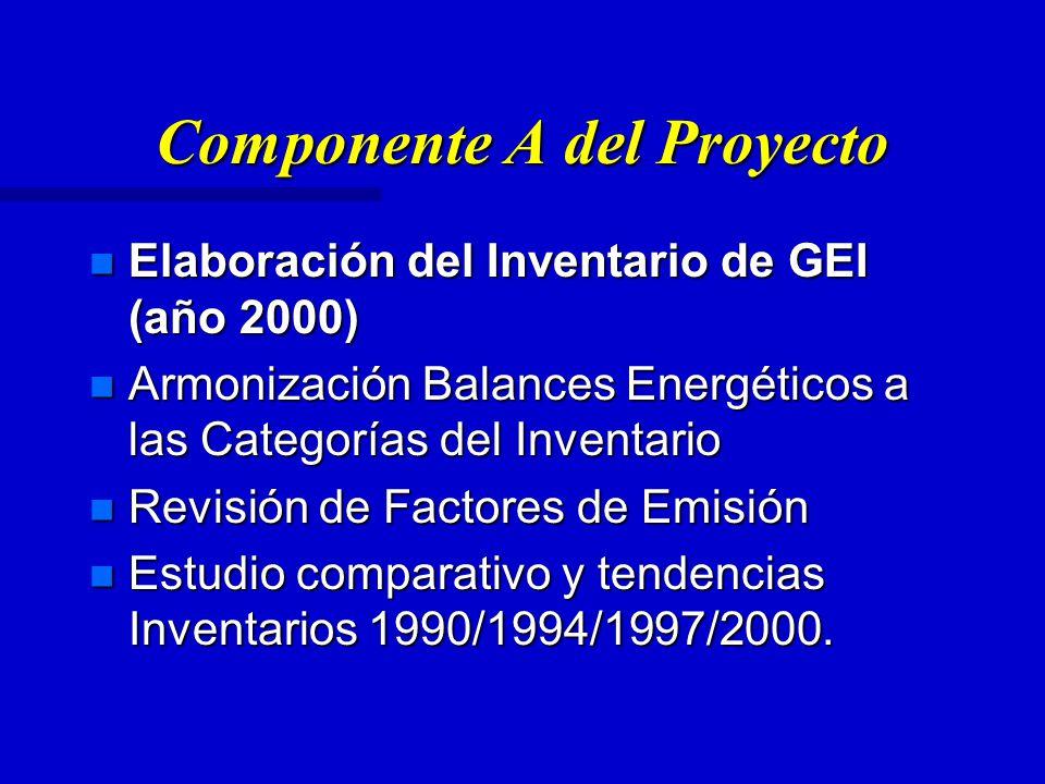 Componente A del Proyecto n Elaboración del Inventario de GEI (año 2000) n Armonización Balances Energéticos a las Categorías del Inventario n Revisión de Factores de Emisión n Estudio comparativo y tendencias Inventarios 1990/1994/1997/2000.