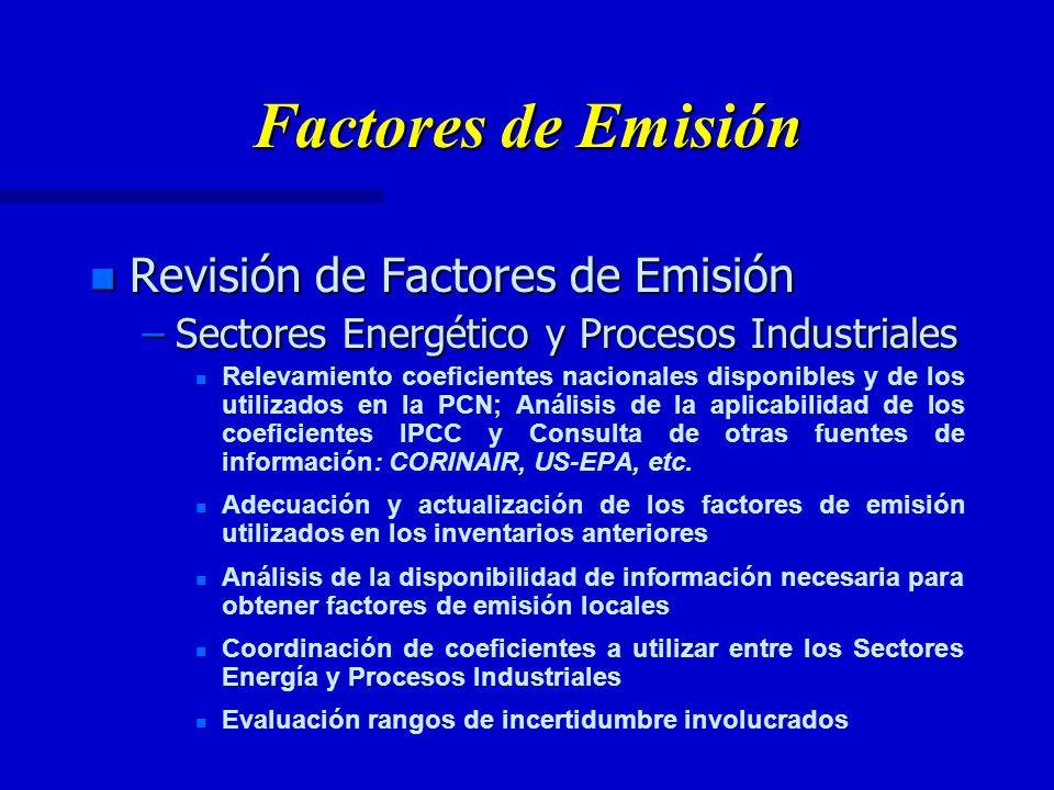 Factores de Emisión n Revisión de Factores de Emisión –Sectores Energético y Procesos Industriales n n Relevamiento coeficientes nacionales disponibles y de los utilizados en la PCN; Análisis de la aplicabilidad de los coeficientes IPCC y Consulta de otras fuentes de información: CORINAIR, US-EPA, etc.
