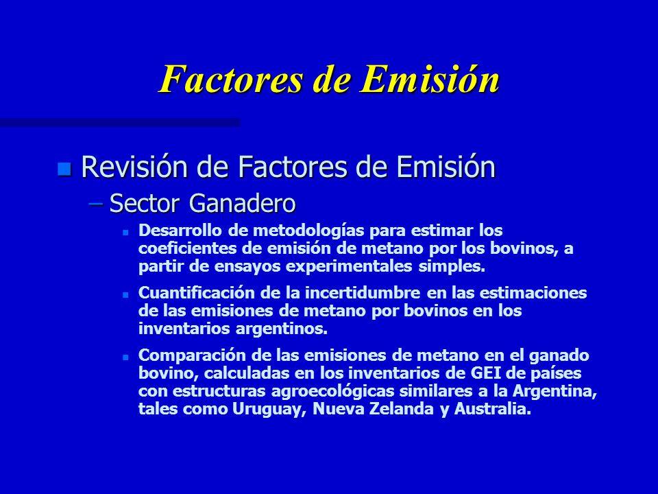 Factores de Emisión n Revisión de Factores de Emisión –Sector Ganadero n n Desarrollo de metodologías para estimar los coeficientes de emisión de metano por los bovinos, a partir de ensayos experimentales simples.