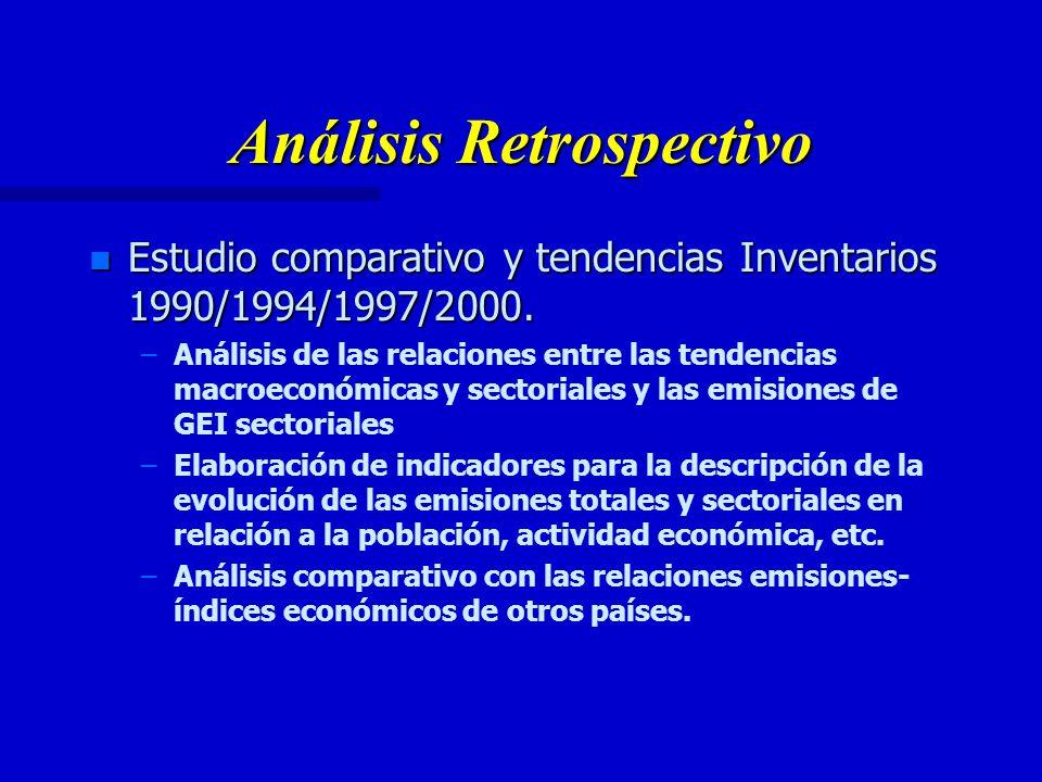 Análisis Retrospectivo n Estudio comparativo y tendencias Inventarios 1990/1994/1997/2000.
