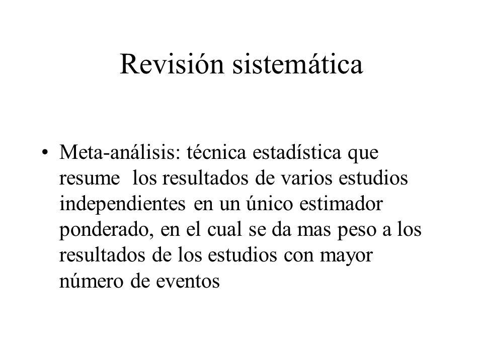 Revisión sistemática Meta-análisis: técnica estadística que resume los resultados de varios estudios independientes en un único estimador ponderado, en el cual se da mas peso a los resultados de los estudios con mayor número de eventos