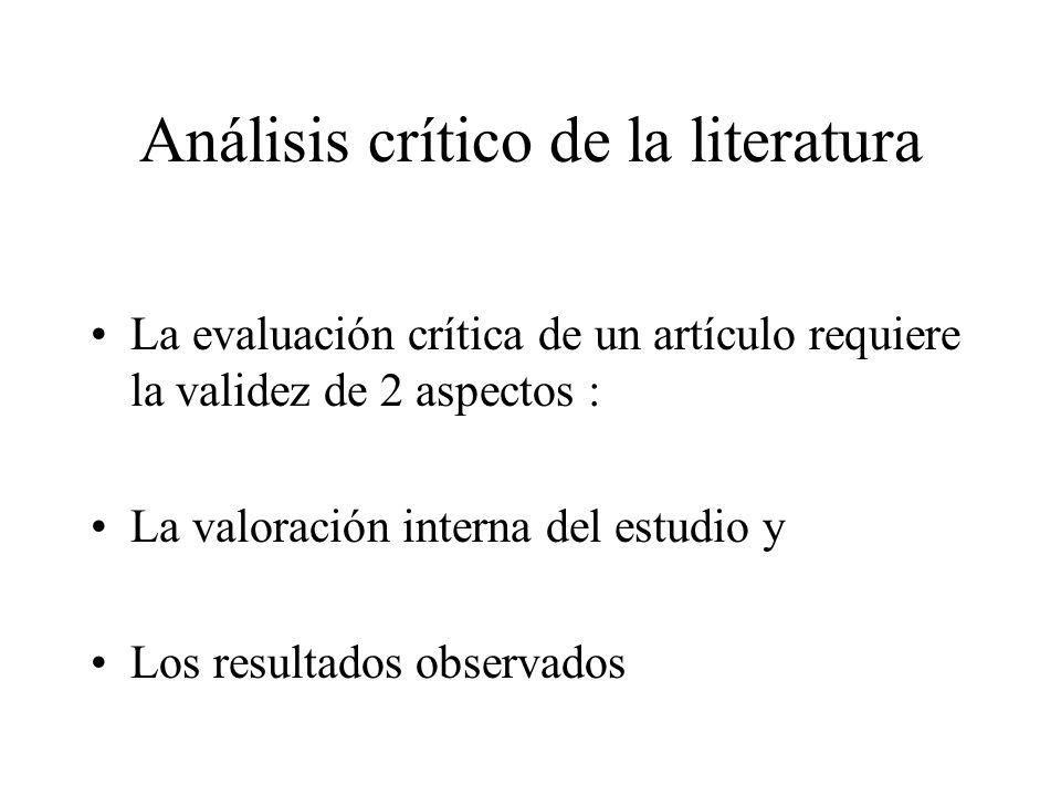 Análisis crítico de la literatura La evaluación crítica de un artículo requiere la validez de 2 aspectos : La valoración interna del estudio y Los resultados observados