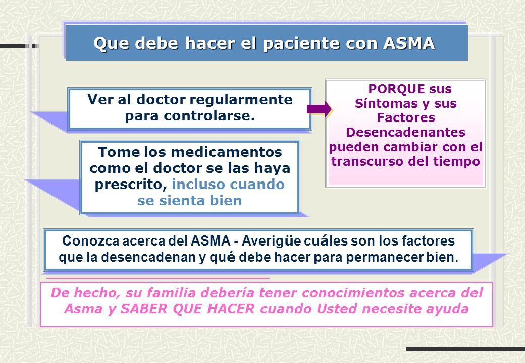 Que debe hacer el paciente con ASMA Ver al doctor regularmente para controlarse. PORQUE sus Síntomas y sus Factores Desencadenantes pueden cambiar con
