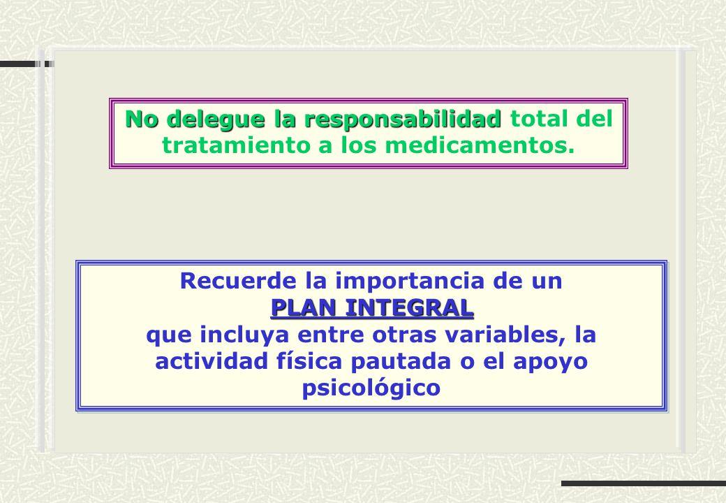 No delegue la responsabilidad No delegue la responsabilidad total del tratamiento a los medicamentos. Recuerde la importancia de un PLAN INTEGRAL que