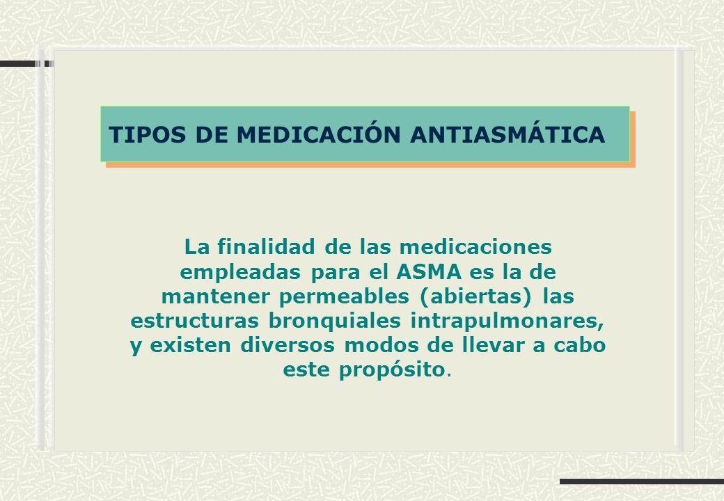 La finalidad de las medicaciones empleadas para el ASMA es la de mantener permeables (abiertas) las estructuras bronquiales intrapulmonares, y existen diversos modos de llevar a cabo este propósito.
