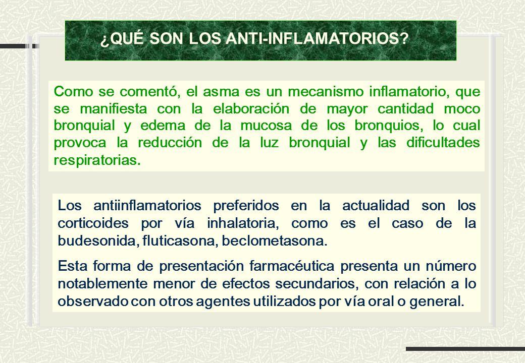 ¿QUÉ SON LOS ANTI-INFLAMATORIOS? Como se comentó, el asma es un mecanismo inflamatorio, que se manifiesta con la elaboración de mayor cantidad moco br