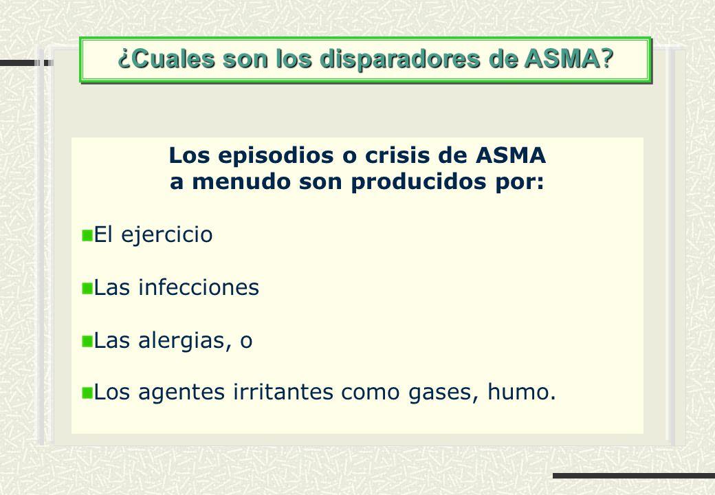 ¿ Cuales son los disparadores de ASMA ? Los episodios o crisis de ASMA a menudo son producidos por: El ejercicio Las infecciones Las alergias, o Los a