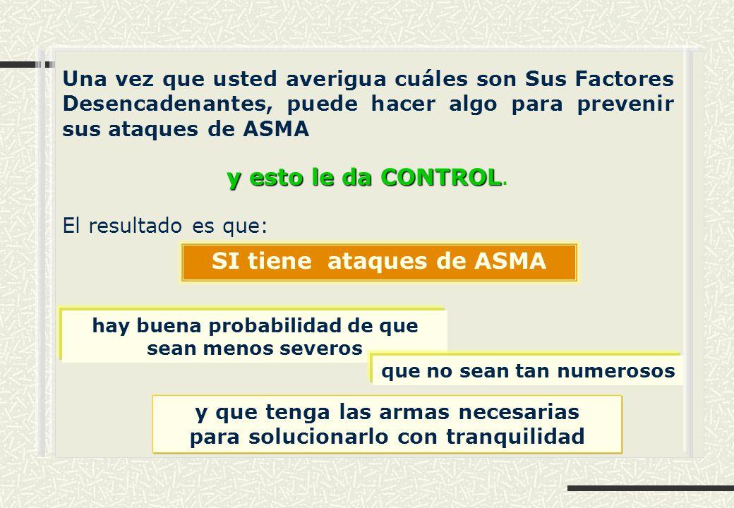 Una vez que usted averigua cuáles son Sus Factores Desencadenantes, puede hacer algo para prevenir sus ataques de ASMA y esto le da CONTROL y esto le