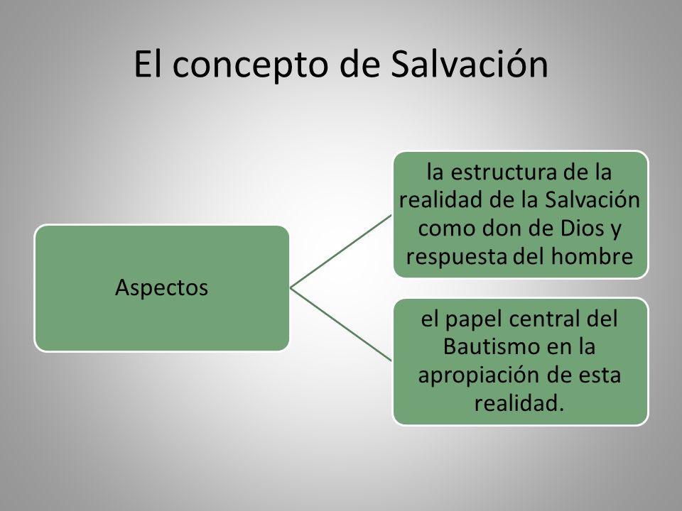 El concepto de Salvación Aspectos la estructura de la realidad de la Salvación como don de Dios y respuesta del hombre el papel central del Bautismo en la apropiación de esta realidad.