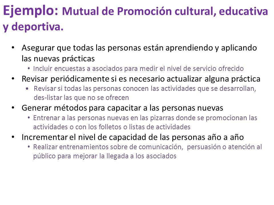 Ejemplo: Mutual de Promoción cultural, educativa y deportiva. Asegurar que todas las personas están aprendiendo y aplicando las nuevas prácticas Inclu