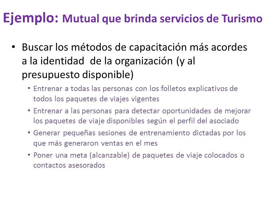 Ejemplo: Mutual que brinda servicios de Turismo Buscar los métodos de capacitación más acordes a la identidad de la organización (y al presupuesto dis