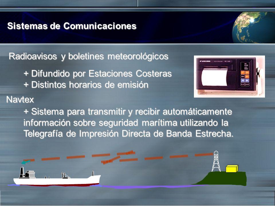 Sistemas de Comunicaciones Radioavisos y boletines meteorológicos Radioavisos y boletines meteorológicos + Difundido por Estaciones Costeras + Distint